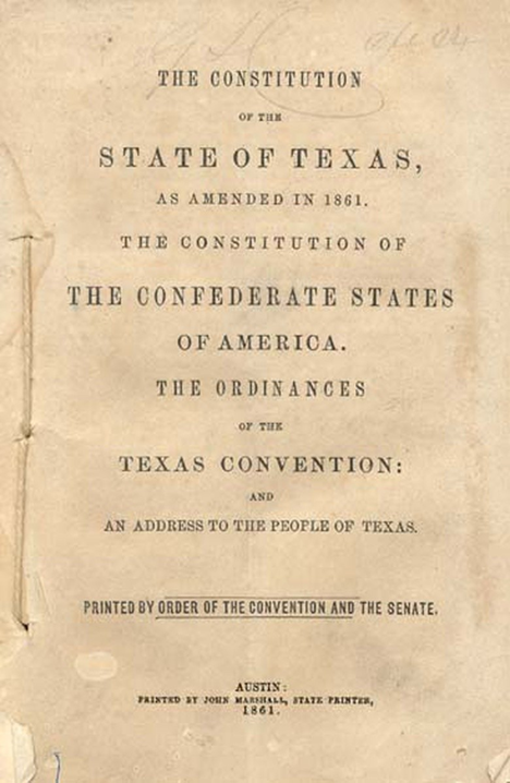 The Texas Constitution of 1861