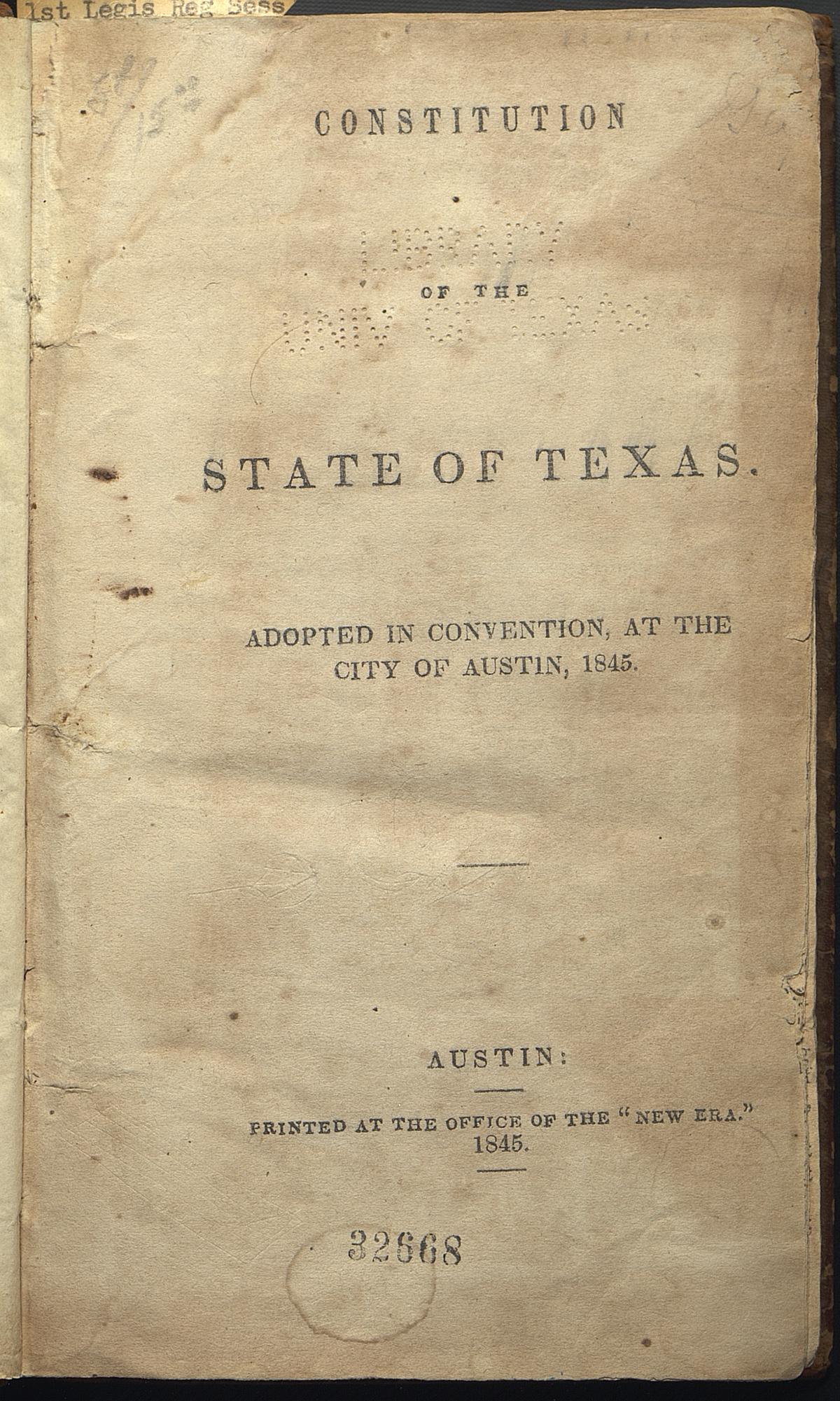 Texas Constitution of 1845