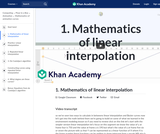 1. Mathematics of linear interpolation