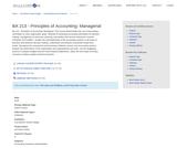 BA 213 - Principles of Accounting: Managerial