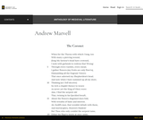 Andrew Marvell – Anthology of Medieval Literature