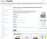 Adult Literacy Fundamentals Mathematics: Book 6