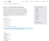 BA 260 - Small Business Management